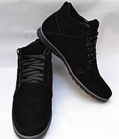 Мужские зимние замшевые ботинки, Van Kristi, черные, шнурок, подошва танкетка