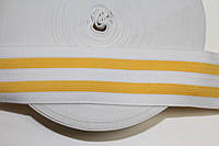 Резинка декоративная 50мм, белый+желтый , фото 1