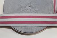 Резинка декоративная 50мм. белый+розовый , фото 1