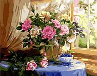 Холст с контуром по номерам Mariposa Натюрморт с розами и черникой Жанна Когай (MR-Q1433) 40 х 50 см