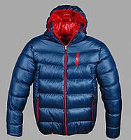 Зимняя куртка Puma на змейке с капюшоном наполнитель холлофайбер синего цвета на змейке