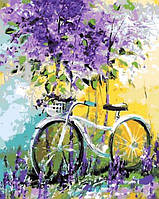 Раскраска по цифрам Mariposa Велосипед в зарослях лаванды Худ Дарчук Ольга (MR-Q765) 40 х 50 см
