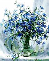 Раскраска по цифрам Mariposa Васильки в стеклянной вазе худ Вьюгова Римма (MR-Q848) 40 х 50 см