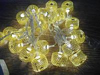 Новогодняя гирлянда Колесо Золотое 20 ламп 3 м