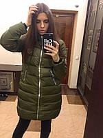 Пальто (пр-во Китай), цвет-хаки, черный, синий, наполнитель- холлофайбер, Китай гн№ 235-750