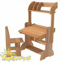 Парта дитяча 70 см з книжковою полицею та стільцем, фото 1