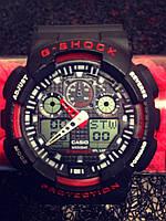 Casio G-Shock GA 100 черный с красным black red