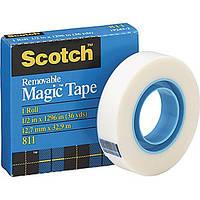 Невидимая клейкая лента 3М 811 Scotch Removable Tape, 19 мм х 33 м с возможностью переклеивания (удаления)