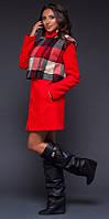 Оригинальное женское пальто прямого фасона со съемной клетчатой жилеткой кашемир шерсть на подкладке