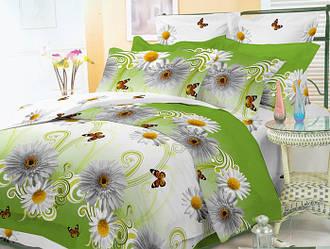 Двуспальный с евро простынью комплект Белая Гербера