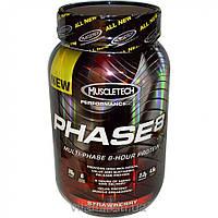 Muscletech, Phase8, протеин многофазного 8-часового действия, клубника, 2,0 фунта (907 г)