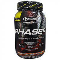 Muscletech, Performance Series, Phase8, Multi-Phase 8-Hour Protein, Peanut Butter Chocolate, 2.00 lbs (907 g)
