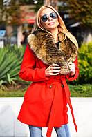 Стильное женское пальто под пояс с воротником из натурального меха кашемир на силиконовой подкладке