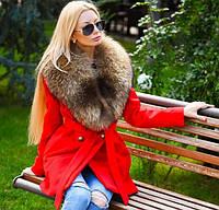 Эффектное женское пальто под пояс с воротником из натурального меха кашемир на силиконовой подкладке
