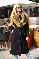 Удлиненное женское пальто под пояс с воротником из искусственного меха кашемир на силиконовой подкладке