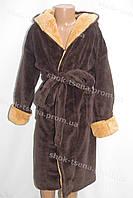 Детский махровый халат коричневый