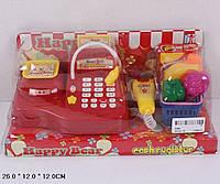 """Игровой набор """"кассовый аппарат"""" 009a, на батарейках, с корзинкой, продуктами, под слюдой: 26х12х12 см"""