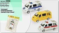 Машина инерционная j0088 полиция, скорая, такси, в пакете: 20х14х7 см