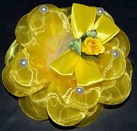 Бант на резинке 11 см, органза, желтый, роза (2 шт) 21_3_301a4