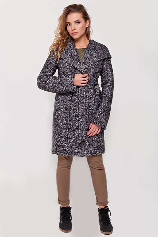 """Зимнее пальто с капюшоном """"Клер"""" черно-белое"""