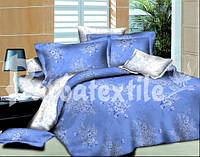 Семейный комплект постельного белья Букетики синий