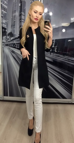 Черный женский пиджак кардиган