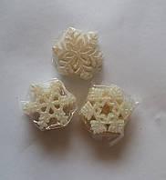 """Игрушка елочная """"Снежинка белая с перламутром"""", 5 см (упаковка 10 шт), фото 1"""