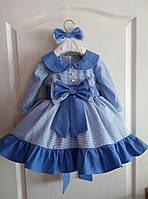 Оригинальное платье на девочку в мелкую клетку с пышной юбкой и бантом на поясе