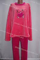 Женская теплая велюровая пижама коралловая/розовая
