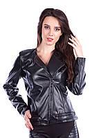 Куртка чёрная женская кожаная Метал