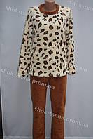 Женская теплая велюровая пижама леопардовая/коричневая