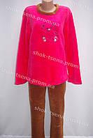 Женская теплая велюровая пижама розовая/коричневая