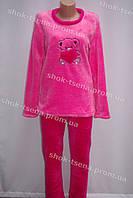 Женская теплая велюровая пижама розовая/красная