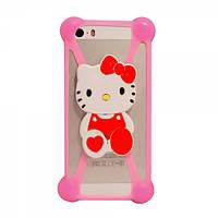 Универсальный 3D чехол-бампер Hello kitty светло-розовый, фото 1