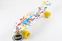 Скейт,пенни борд «Pop Art» 22″ желтые или синие колеса