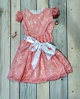 Платье детское персиковое с коротким рукавом и поясом Польша 110 см