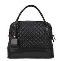 Большая женская сумка Стеганая с брелком черная
