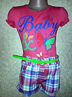 Костюм для девочки шорты +футболка с поясом, фото 1