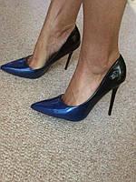 Женские туфли лодочки амбре, с переходом синие черные 36-41р