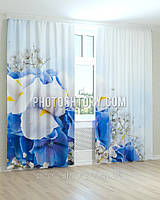 Фотошторы цветы синие гортензии и белые ирисы