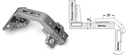 Петля накладная 135 градусов  Slide-on GIFF D=35 никель
