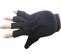 Перчатки-варежки из флиса мужские черные