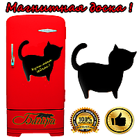 Магнитно-грифельная доска на холодильник для записей в форме котик (35х32см)