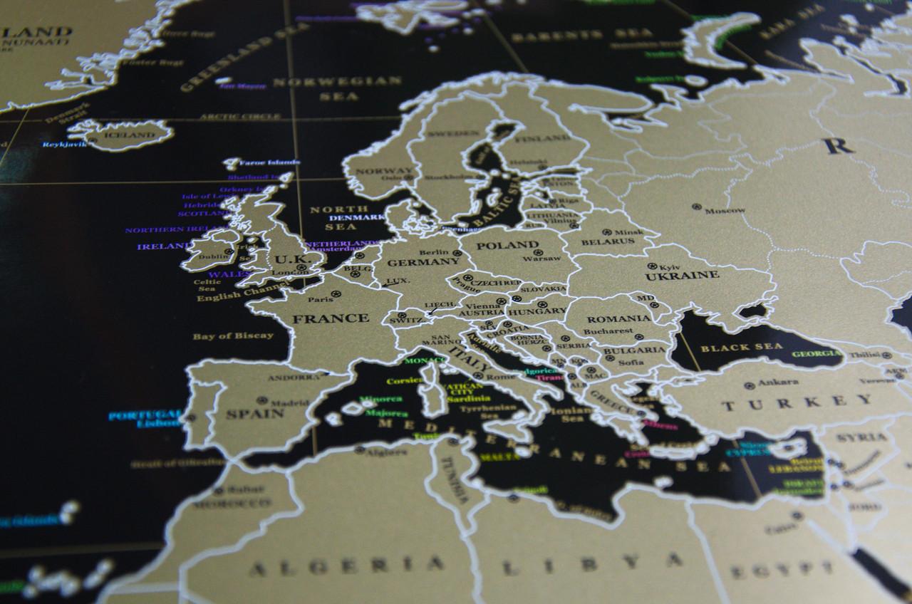 Скретч-карта мира Black edition, англ.
