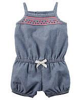 Ромпер джинсовый для девочки Carters, размер 9М, 12М