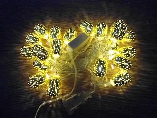 Новогодняя гирлянда Цилиндр Золотой 20 Led 2,1 м