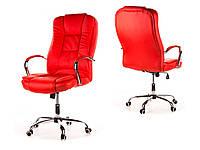 Офисное кожанное кресло MIDO красное