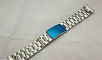 Браслет до годинників Omega - сталевий, колір срібло, кріплення півмісяць, фото 1
