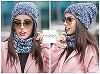Женский комплект шапка - шарф