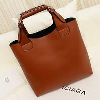 Большая женская сумка в стиле Зара (Zara Shoper) рыжая